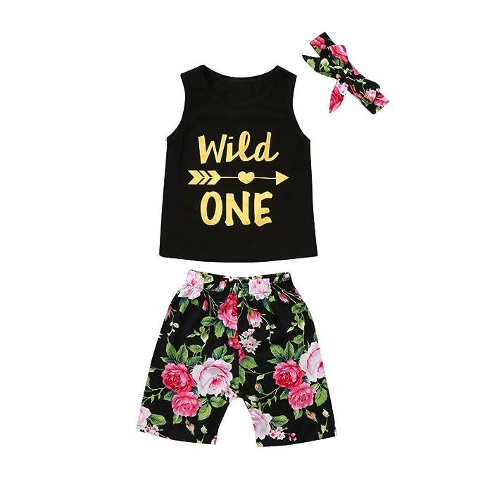 Amazon.com: Bebé chaleco camiseta pantalones cortos conjunto ...