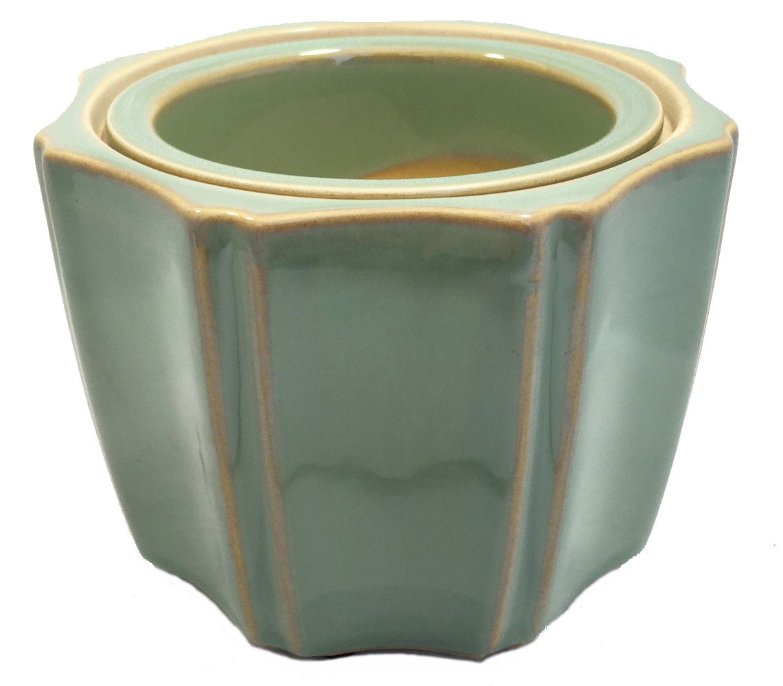Octagon Self Watering Glazed Ceramic Pot – Jade – 5 1 4 x 4 1 4