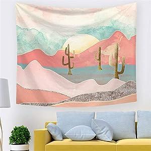 TJNMU Tapestry for Bedroom Dorm Bathroom Wall Decor Living Room Desert Sunrise Cactus,78.7 x 59 Inches