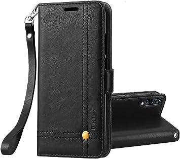 Ferilinso Funda para Samsung Galaxy A70, Carcasa Cuero Retro Elegante con ID Tarjeta de Crédito Tragamonedas Soporte de Flip Cover Estuche de Cierre magnético para Samsung Galaxy A70 (Negro): Amazon.es: Electrónica