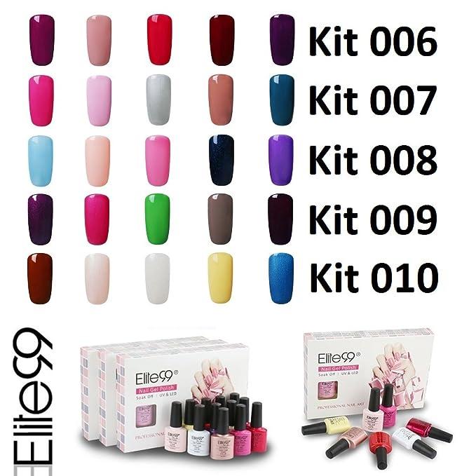Elite99 Esmalte de Uñas Semipermanente Uñas de Gel UV LED Kit de ...