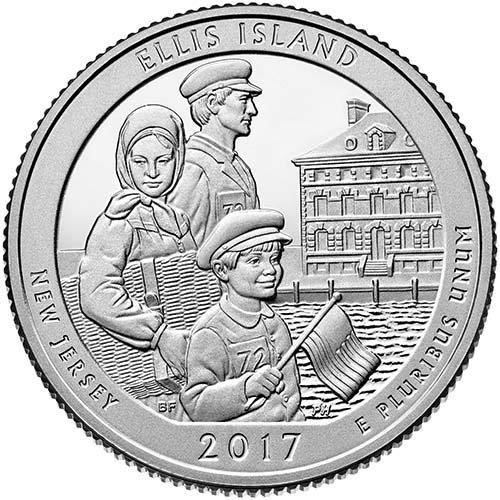 (2017 P BU Ellis Island, New Jersey National Park NP Quarter Brilliant Uncirculated US Mint)