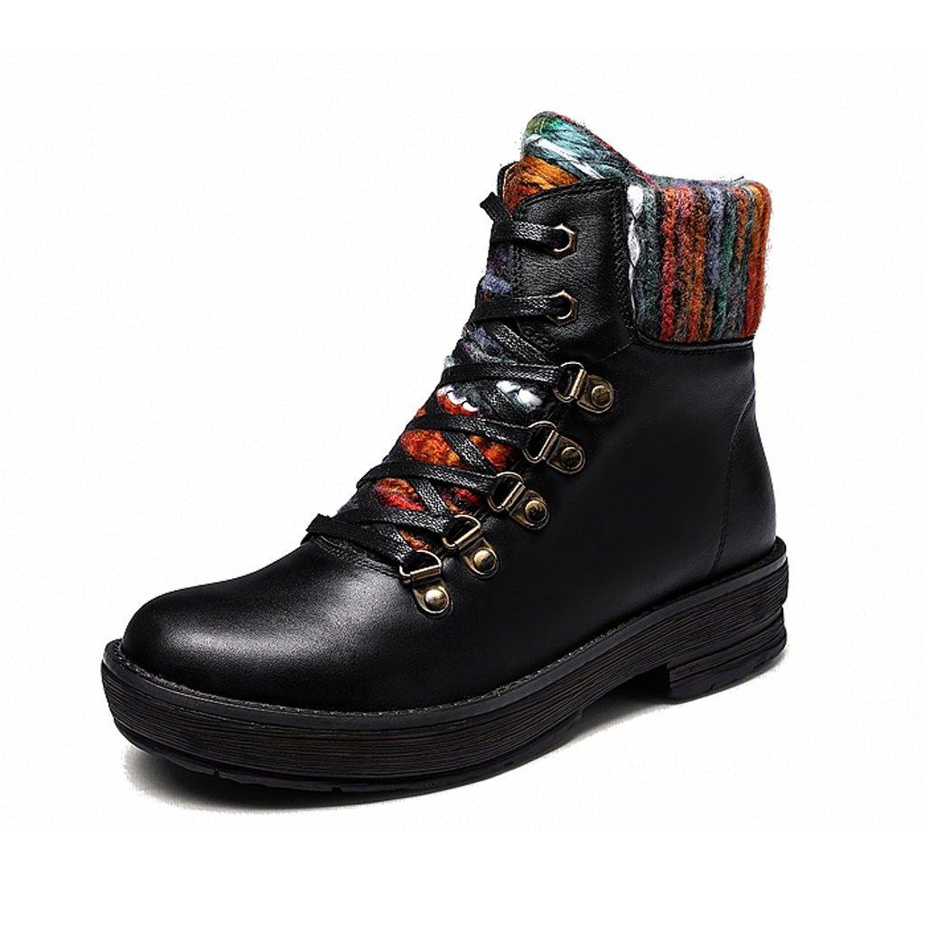 Women's Martin boots autumn straps fashion genuine leather shoes ( Color : Black , Size : US:5.5UK:4.5EUR:36 )