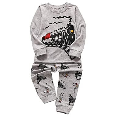 f40e7049f Amazon.com: Winsummer Kids & Toddler Boys Christmas Pajamas 2 Piece 100%  Cotton Train T Shirt Pants Sleepwear Clothes Set 1-6T: Clothing