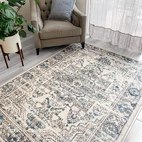 Maples Rugs Area Rugs - Distressed Tapestry 5 x 7 Large Rug [Made in USA] for Living Room, Bedroom, and Dining Room, Neutral