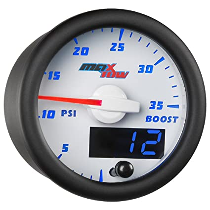 MaxTow Double Vision 35 PSI Turbo Boost Gauge Kit - Includes Electronic Pressure Sensor - White