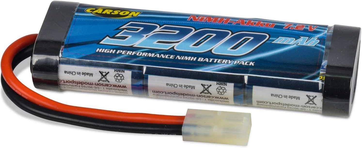 Carson 500608213 Racing Pack - Batería para vehículos teledirigidos (7,2 V, 3200 mAh, NiMH), Color Negro