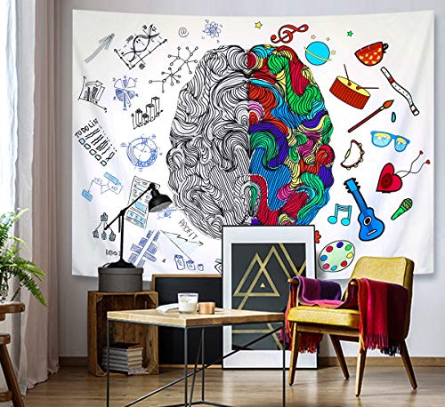 "Modern Decor Tapestry, Left and Right Brain with Music Logic Art & Science, Creative Home Decor Wall Hanging for Bedroom Living Room Dorm, 79""H x 59""W"