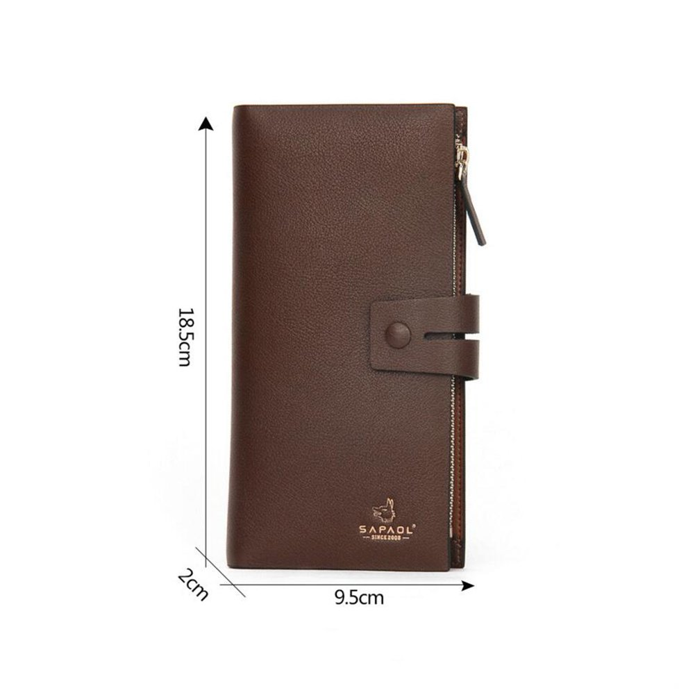 Amazon.com: NIAN Mens leather wallet mens long section ...
