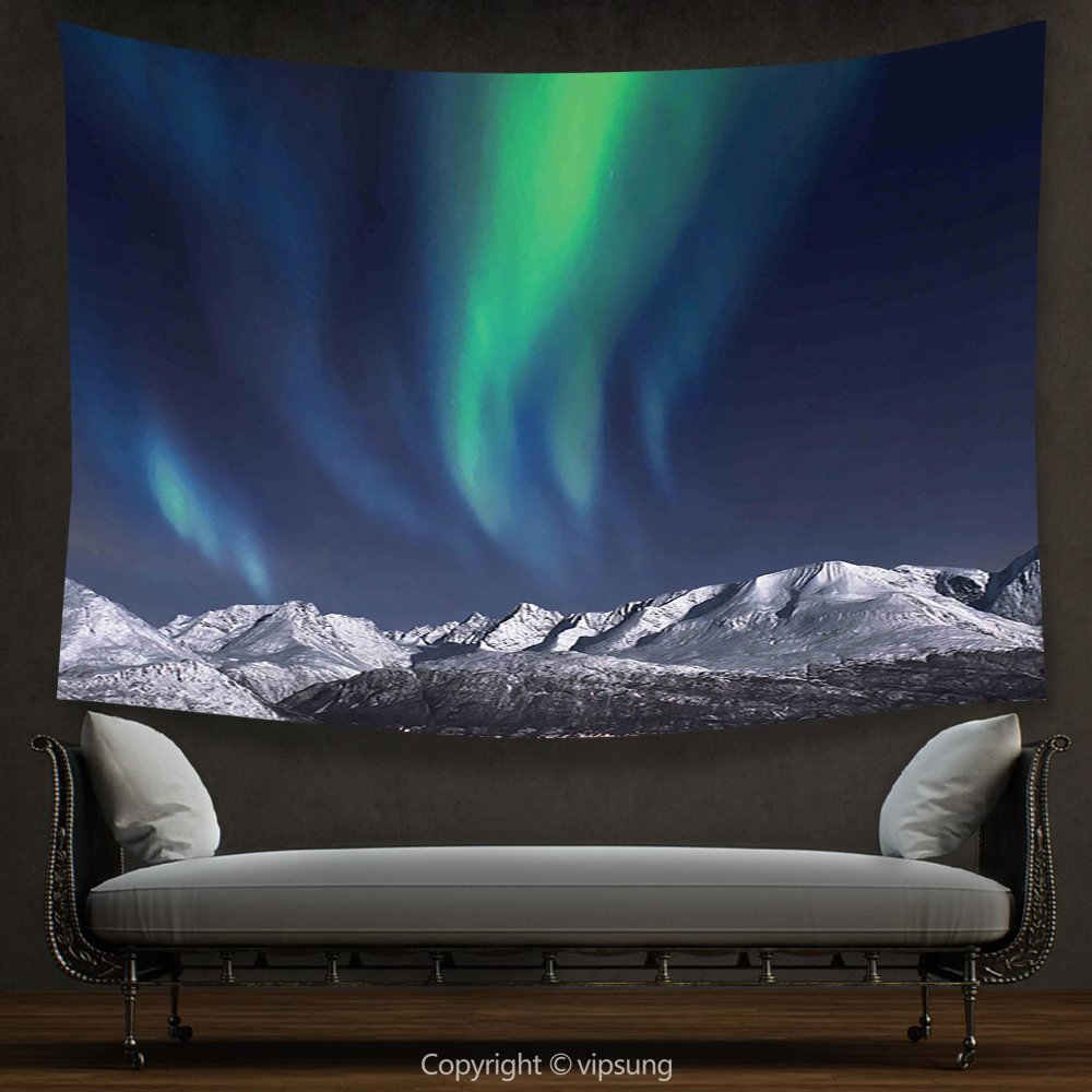 House Decor Tapestry Sky Decor Northern Lights Aurora over Fjords Mountain at Night Norway Solar Image Green Dark Blue Wall Hanging for Bedroom Living Room Dorm