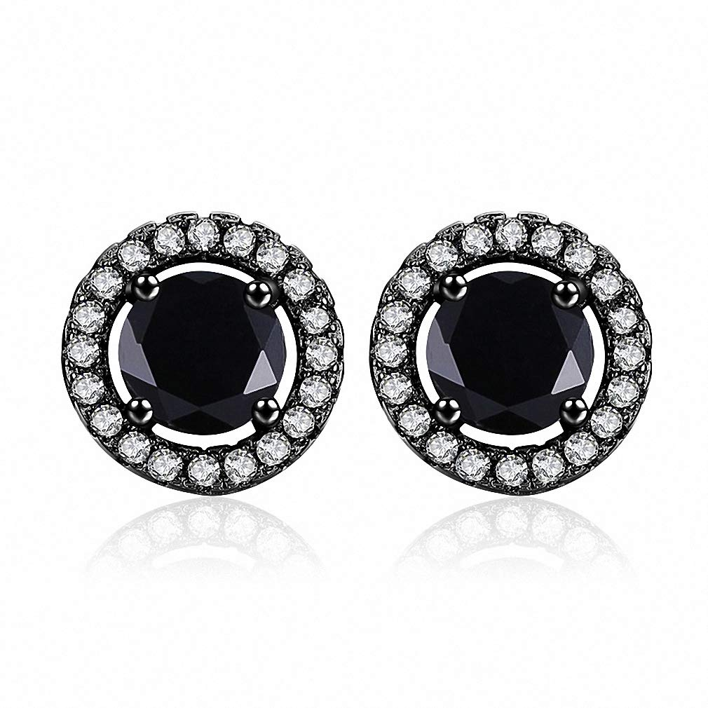 Womens Stud Earrings White Gold Color Jewelry AAA Zircon Round Wedding Brincos