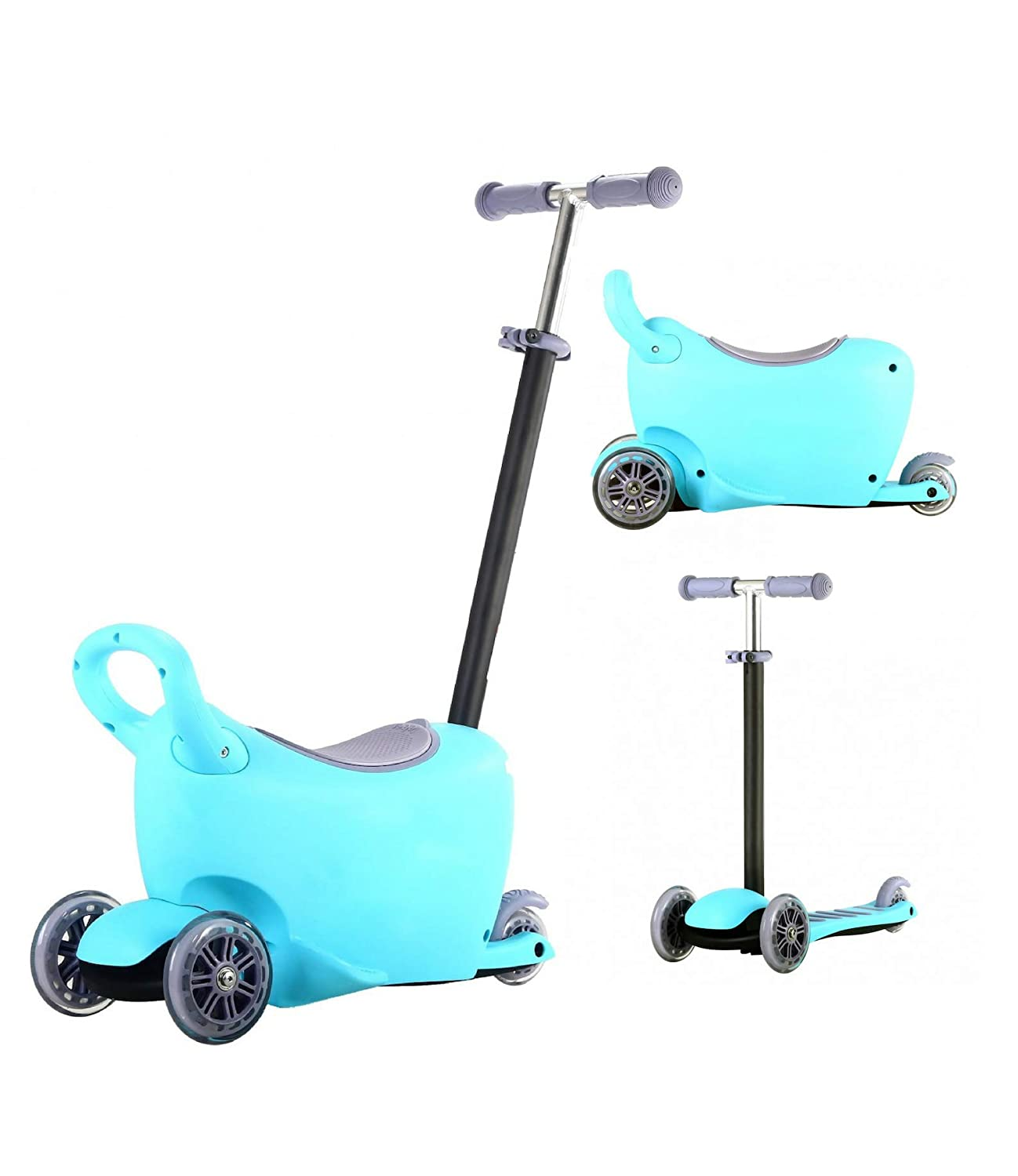 Rideontoys4u 3 Stages 3in1 Light Up Scooter With Storage Box Blue