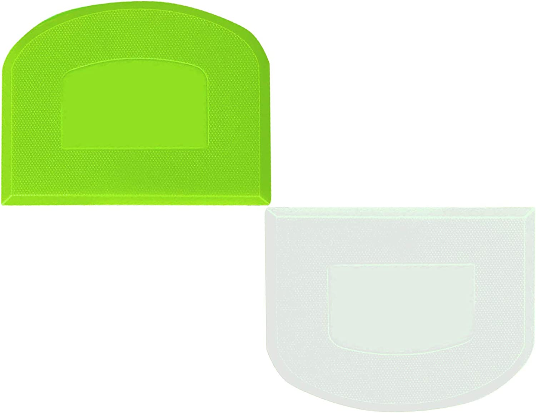 Dough Scraper, Bowl Scraper, Food-safe Plastic Dough Cutter, Flexible Bench Scraper, Multipurpose Food Scrappers Tool for Bread Dough Cake Pastry, White Green Set of 2