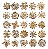L'vow Rhinestone Crystals Brooches Collar Pin Bouquet Kit Pack of 24 (gold)