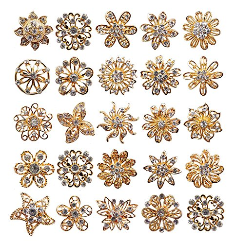 L'VOW Rhinestone Crystals Brooches Collar Pin Bouquet Kit Pack of 24 (Gold) (Brooch Gold Copper)