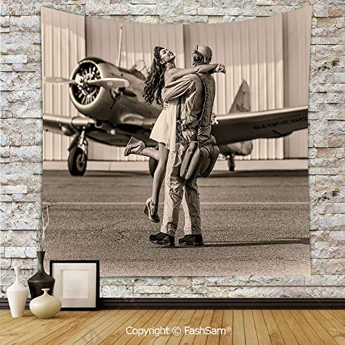 FashSam Tapestry Wall Blanket Wall Decor Brunette Young Woman Hugging a Pilot Historic Aircraft Homecoming Image Decorative Home Decorations for Bedroom(W59xL78)
