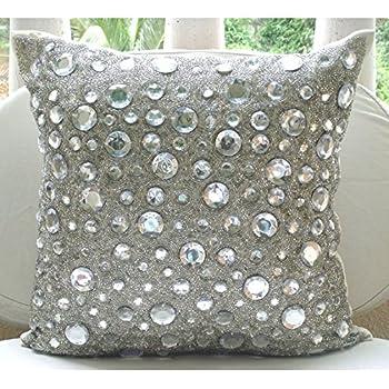 Amazon.com: Handmade Silver Throw Pillow Covers