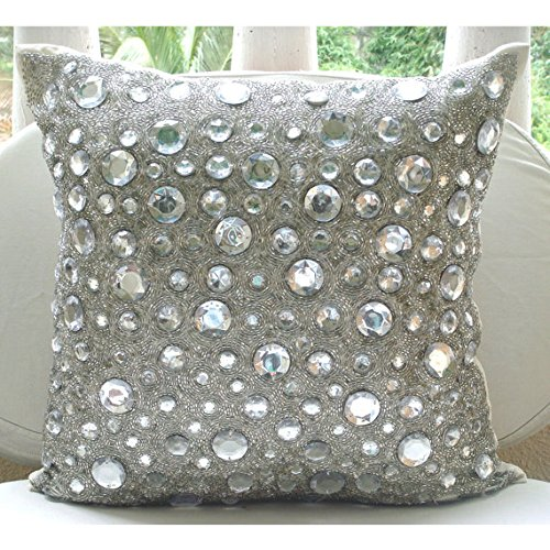 Handmade Silver Throw Pillow Covers, Rhinestones and Crystals Sparkly Glitter Pillows Cover, 18