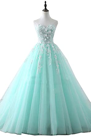 Victoria Prom Womens Sweetheart Prom Dresses Appliqued Quinceanera Dress Ball Gown at Amazon Womens Clothing store: