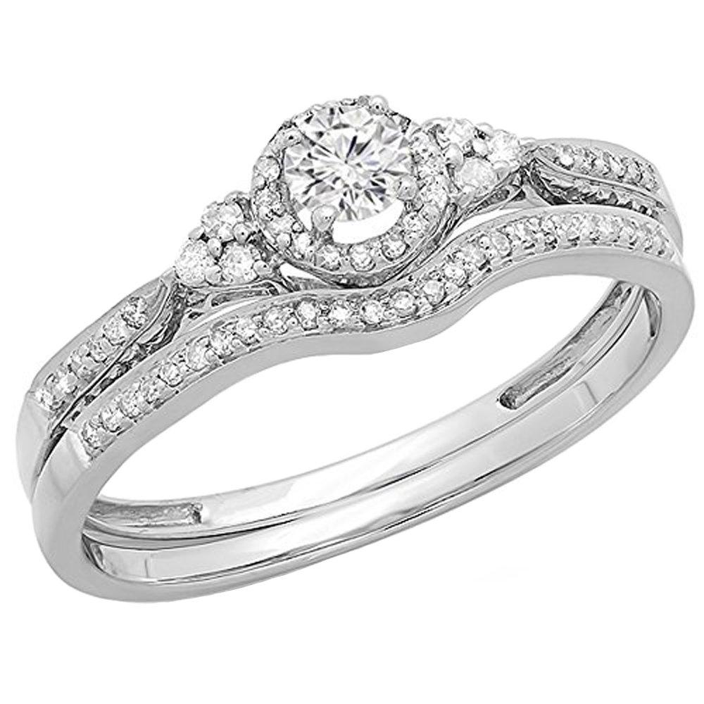 0.33 Carat (ctw) 14K White Gold Round Diamond Ladies Bridal Engagement Ring Set 1/3 CT (Size 5) by DazzlingRock Collection
