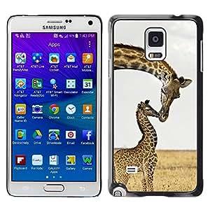 FECELL CITY // Duro Aluminio Pegatina PC Caso decorativo Funda Carcasa de Protección para Samsung Galaxy Note 4 SM-N910 // Kiss Sweet Africa Baby Mother