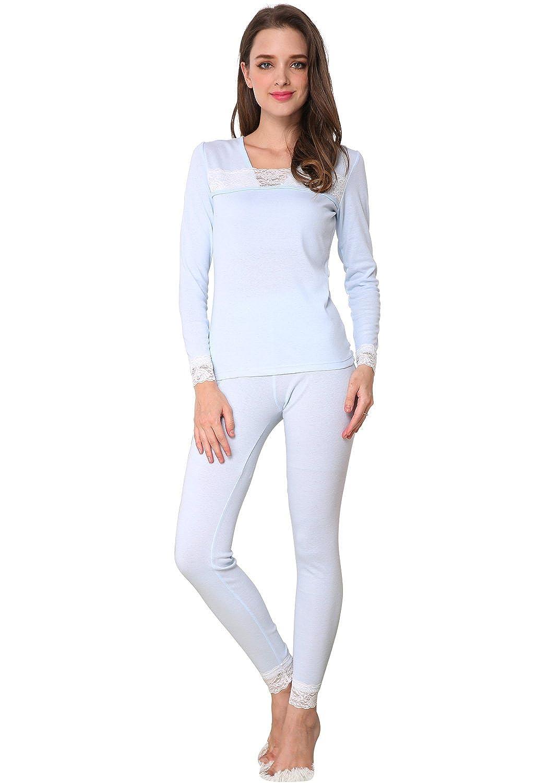 Godsen Women's Cotton Thermal Underwear Pajamas Set Top & Pants 85202010
