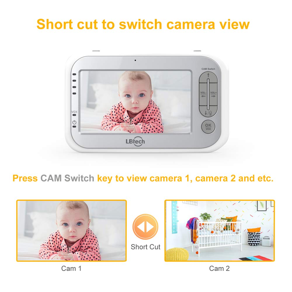 LBtech Video Baby Monitor with Two Cameras and 4.3'' LCD,Auto Night Vision,Two-Way Talkback,Temperature Detection,Power Saving/Vox,Zoom in,Support Multi Camera by LBtech (Image #8)