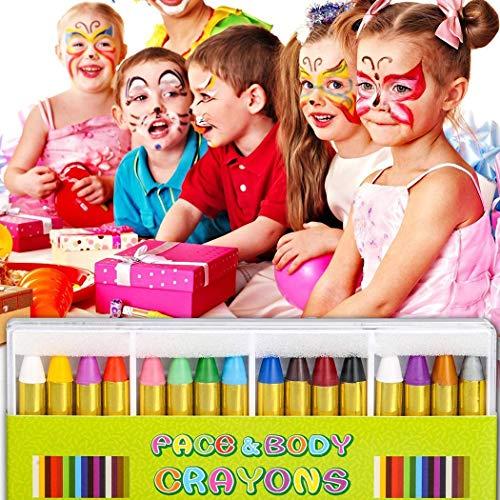 cibenid Children's Washable Face Crayons Kit Body Oil Paint Clown Fans Devil Ghost Party Novelty Games -