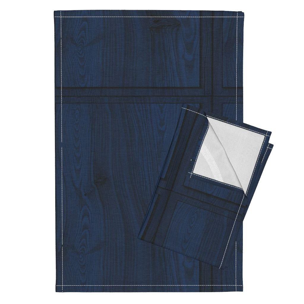 Trompe L Oeil Faux Antique Blue Wood Panel Trompe Tea Towels Blue Wood Panels by Peacoquettedesigns Set of 2 Linen Cotton Tea Towels