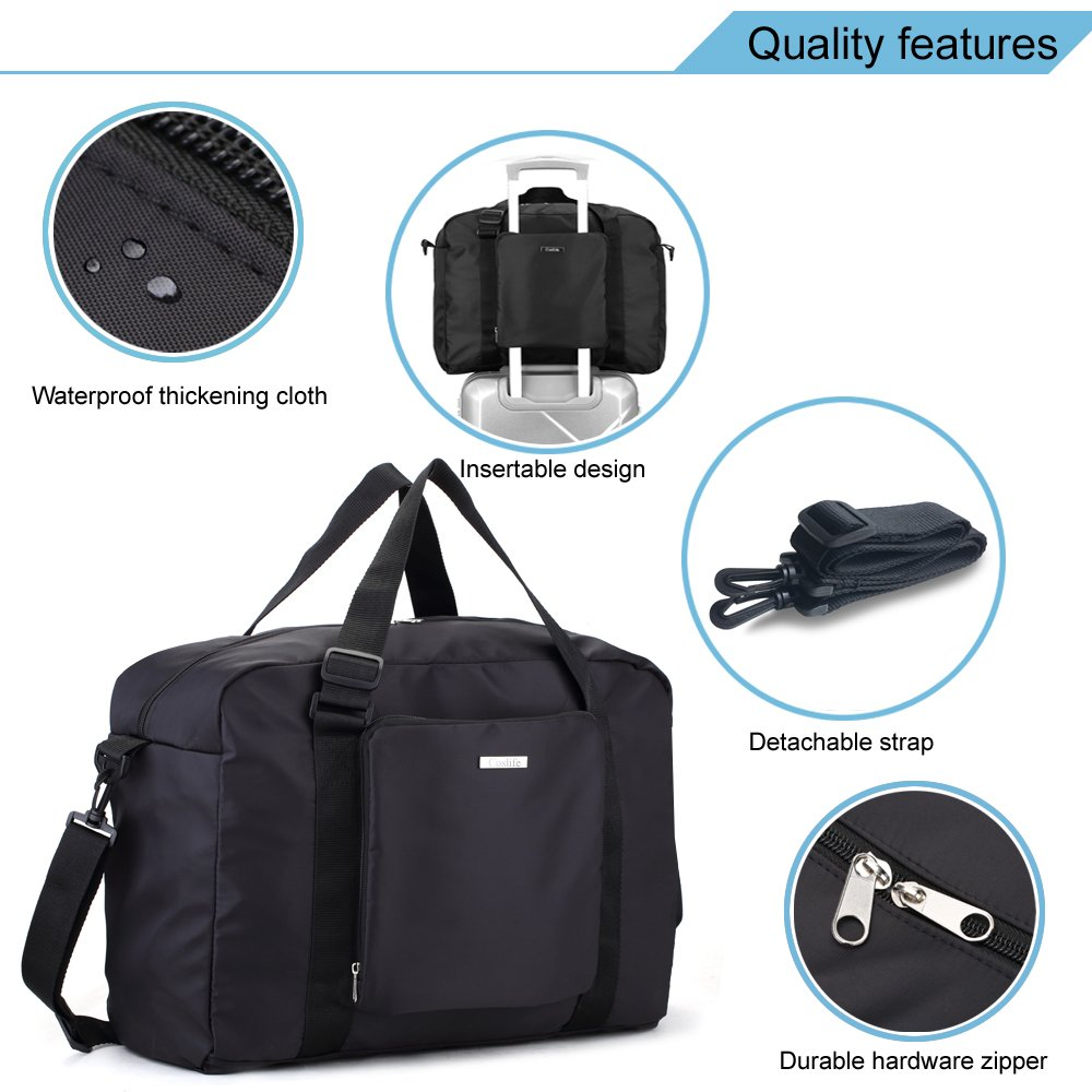 0dd3b16d03 Foldable Travel Duffel Bag - Black Lightweight Foldable Large Capacity  Canvas Storage Luggage Duffel Tote Bag