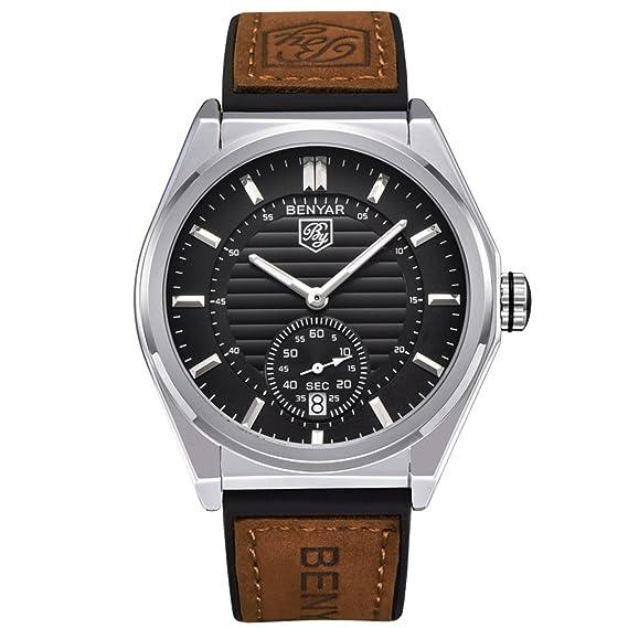 BENYAR - Reloj de pulsera para hombre clásico de cuarzo, resistente al agua, correa de piel para hombres: Amazon.es: Relojes