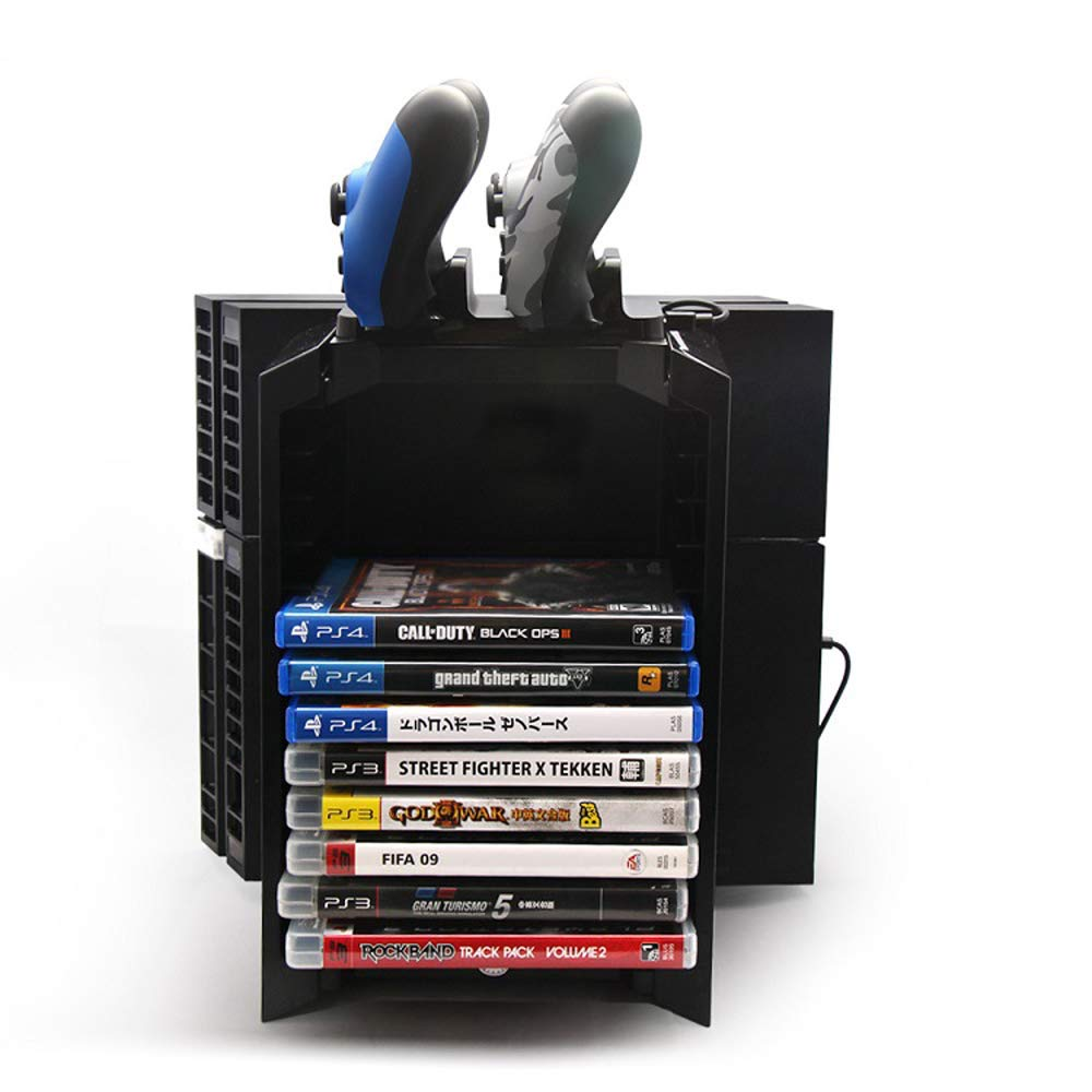 Anrain PS4/PS4 Slim Multifunctional Detachable Holder Game Disk Storage Tower with Dual Dock Controller Charging Station and Console Stand Holder by Anrain