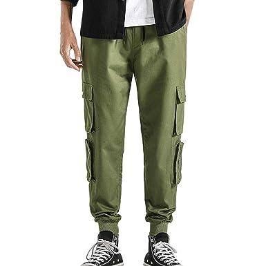 Mosstars pantalón Casual Hombre Verano Pantalones de Bolsillo con ...