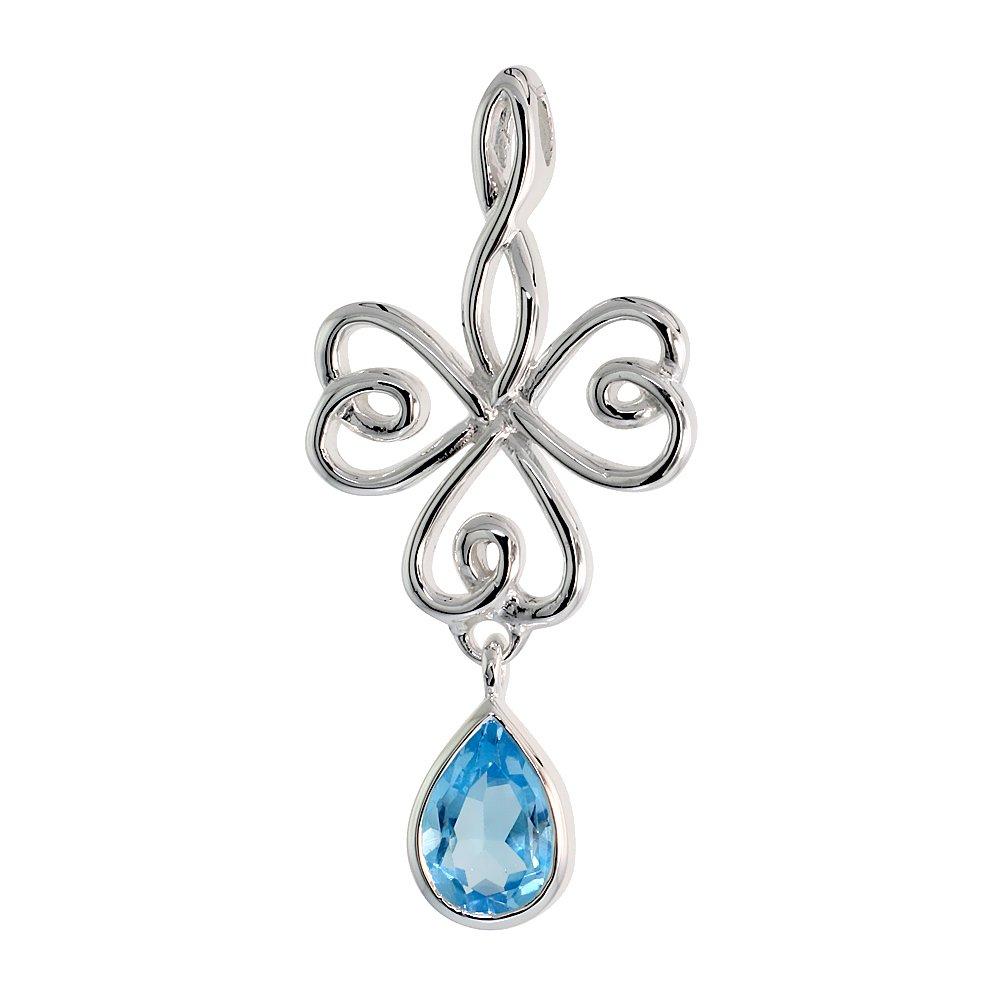 Sterling Silver Celtic Knot Shamrock Pendant Dangling Teardrop Gemstone Flawless Finish, 1 1 2 inch Long