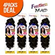 "FreeTress Synthetic Hair Crochet Braids GoGo Curl 12"" (4-Pack, 4)"