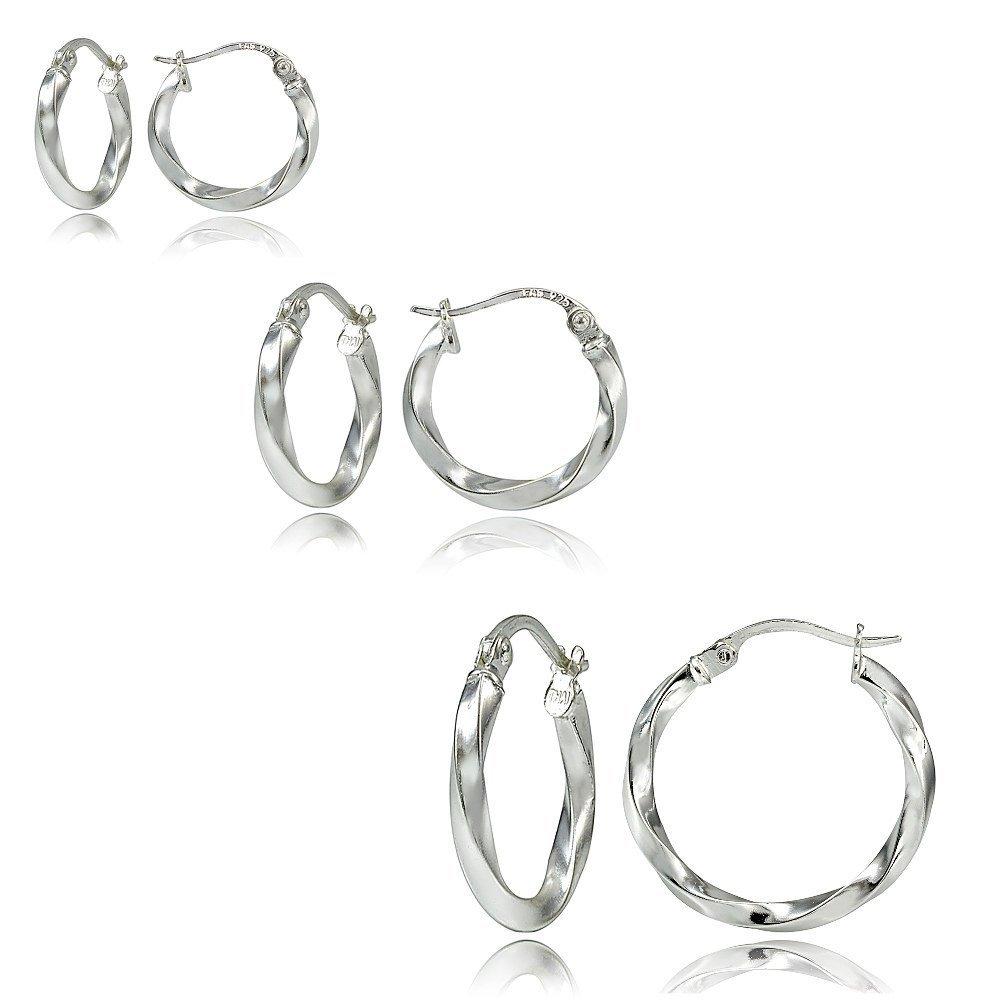 Hoops & Loops Set of 3 Sterling Silver 2mm Twist Hoop Earrings, 15mm, 20mm, 25mm