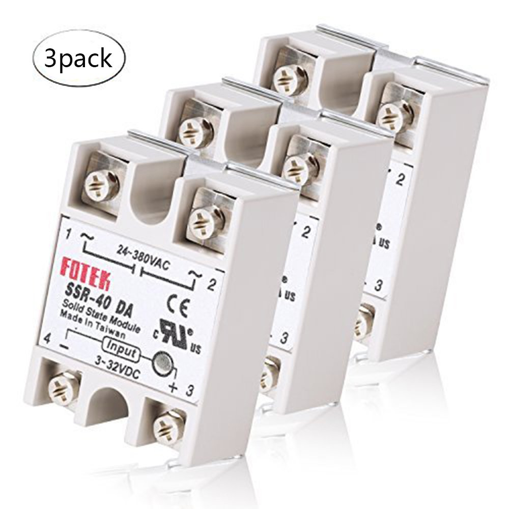 Best Rated In Solid State Relays Helpful Customer Reviews Relay Taiwan Mysweety 3pcs Ssr 40da Single Phase Semi Conductor Input 3