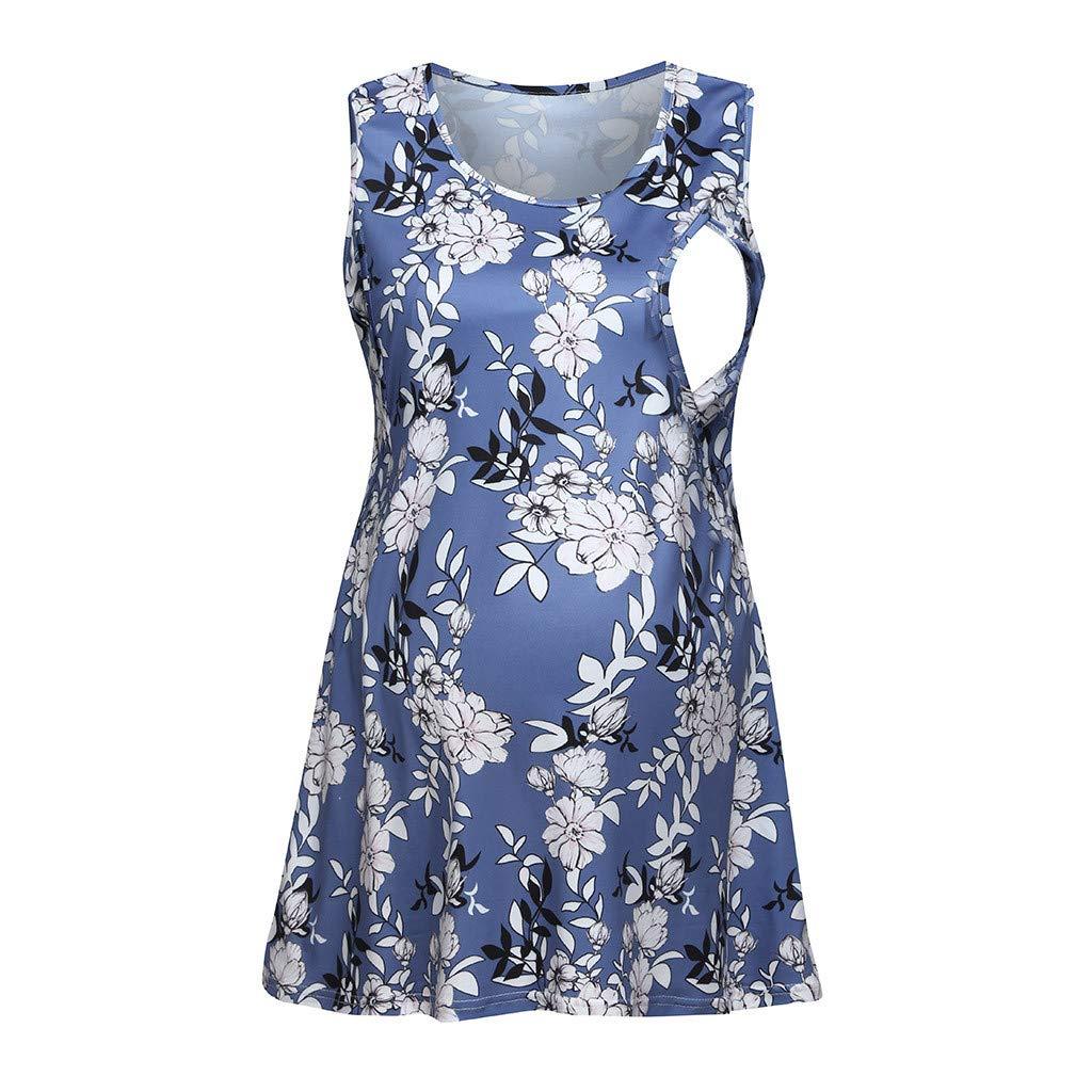 Breastfeeding Shirts Plus Size,Women Pregnant Sleeveless Floral Tops Breastfeeding Nusring Maternity Clothes,Maternity Intimate Apparel,Dark Blue,L