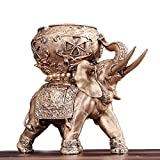 OOFYHOME Ashtrays-European Luxury Cigar Elephant ashtray Ashtray Creative Personality Ashtray Cigarette Ashtray with lid for Home office Decoration Creative gift , bronze - like type