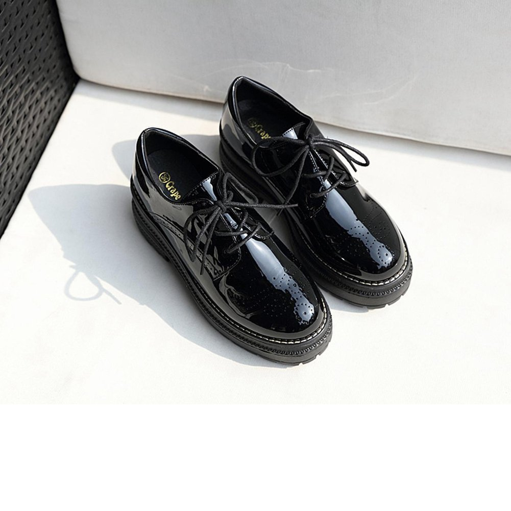 T-JULY Womens Fashion Oxfords Shoes Comfy Perforated Lace-up Thick Sole Round Toe Casual Shoes