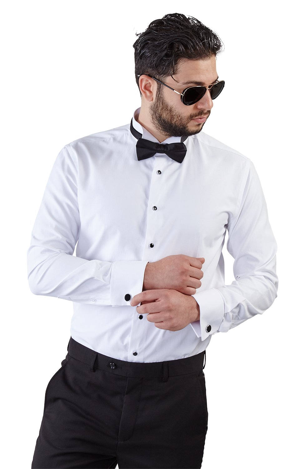 New Mens Tailored Slim Fit White Wing Tip Tuxedo Shirt French Cuff Wrinkle Free by Azar (Medium 15/15.5) by AZAR MAN
