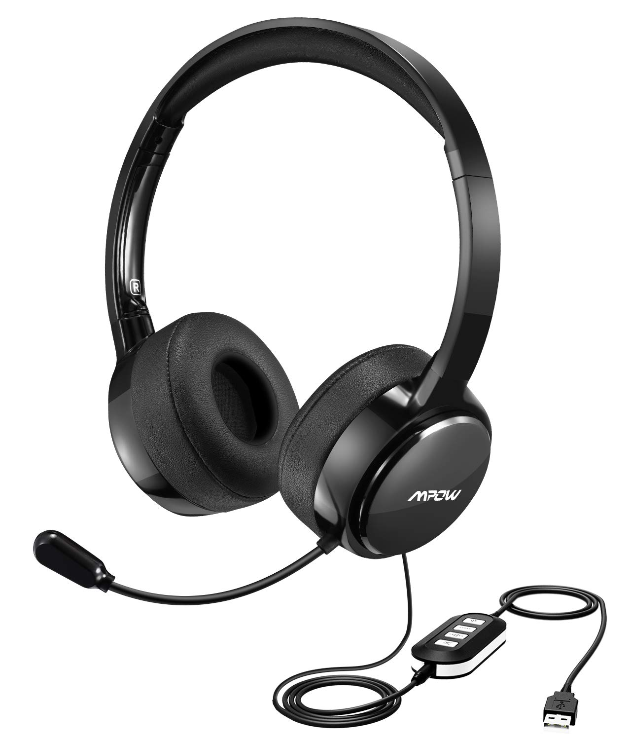 Mpow Upgraded USB Headset with 3.5mm Jack, Lightweight Computer Headset with Noise Cancelling Microphone, Comfy Earmuffs, Wired Headphones for PC, Skype, Phone