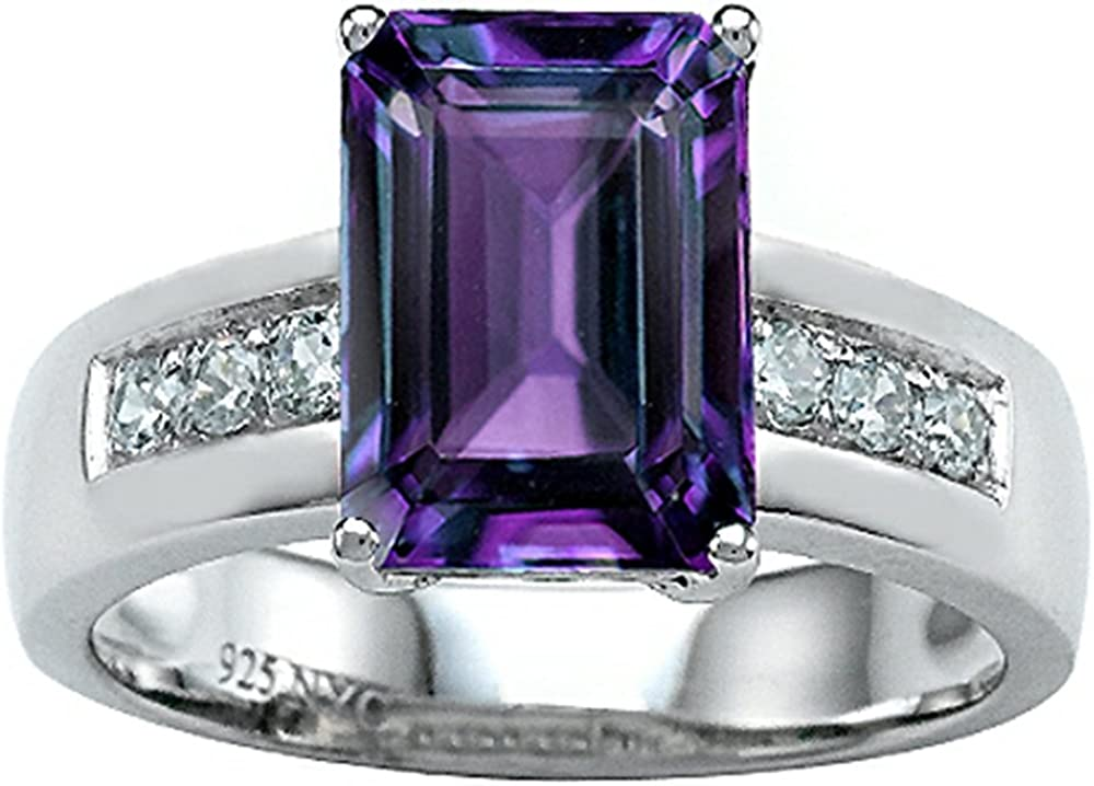 Sterling Silver Ring With Large Stone Video Emerald Cut Alexandrite Ring,