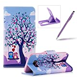 Leather Case for Samsung Galaxy S8 Plus,Flip Wallet Cover for Samsung Galaxy S8 Plus,Herzzer Stylish Owl Tree Pattern Magnetic Closure Purse Folio Smart Stand Cover with Card Cash Slot Soft TPU Inner Case for Samsung Galaxy S8 Plus + 1 x Free Purple Cellphone Kickstand + 1 x Free Purple Stylus Pen
