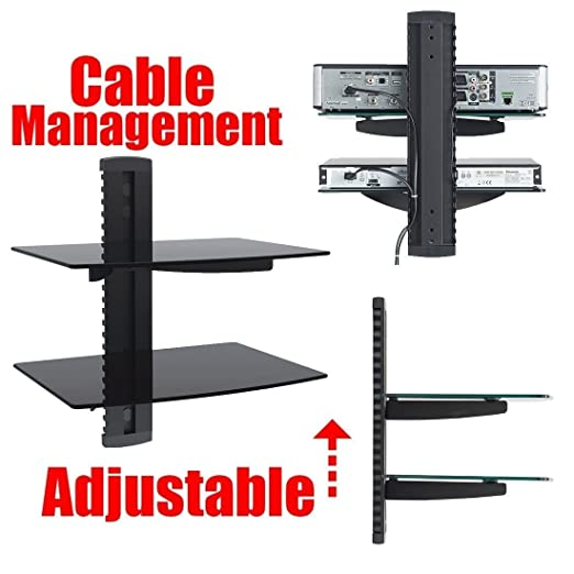amazoncom 2xhome tv wall mount with shelf up to 85 inches tv floating shelf with tempered glass for dvd boxesgames