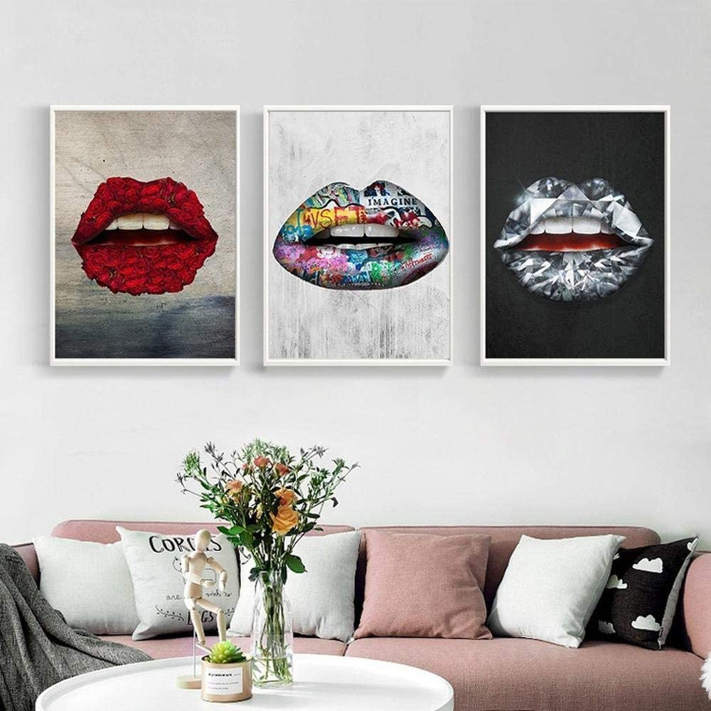 Creative Color Prints Mouths Canvas Paintings Sexy Red Lips Flower Poster Home Decoration Wall Art Pictures For Living Room 50x70cmx3 Unframed Amazon Co Uk Kitchen Home