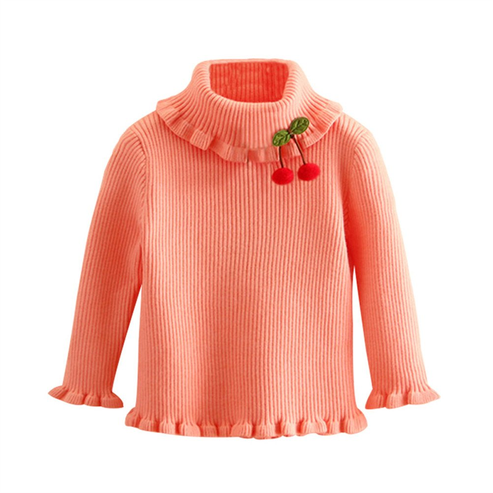 UWESPRING Little Girls' Turtleneck Sweaters Solid Fine Knit Pullover 7-8T Pink