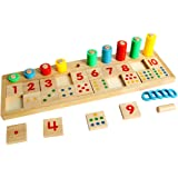 WINZIK Montessori Rainbow Wooden Math Toy Rings Dominos Preschool Teaching Aids Counting and Stacking Board for Kids Children