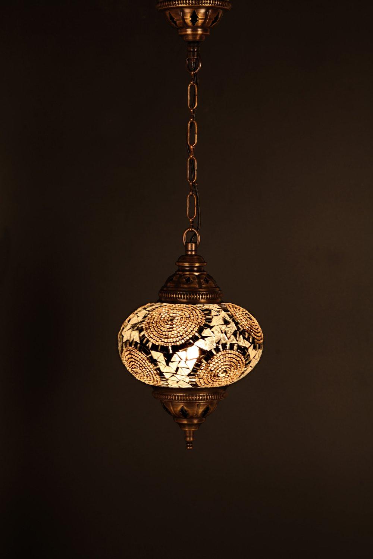 (Height: 9.8 in) Mosaic Chandelier Set 1 Single Globe, Handmade Authentic Tiffany Lighting Moroccan Lamp Glass Stunning Bedside Night Lights Brass&Glass Ottoman Turkish Style