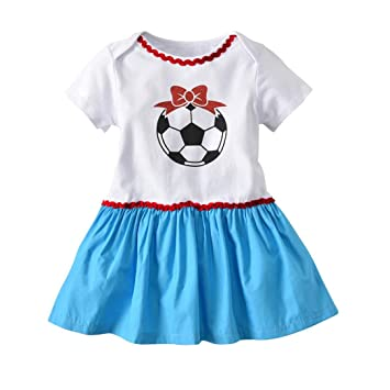 b7942db1a0e Amazon.com  Newborn Infant Toddler Baby Girl Summer Dress Cuekondy 2018  Soccer Print Russia Football Romper Dresses Outfit for 3-18 Months (18M